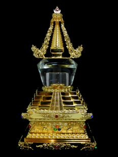 Stupa, Gold Plated with Crystal Dome (29cm)