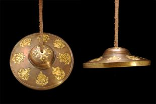 Gold Plated Tingsha with 8 Auspicious Symbols 8.5cm