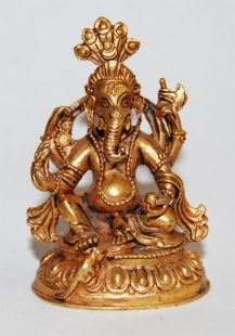 Ganesha Gilt Copper 2〝 Statue