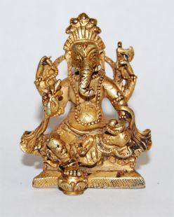 Ganesha Gilt Copper 2〝 Statue (II)
