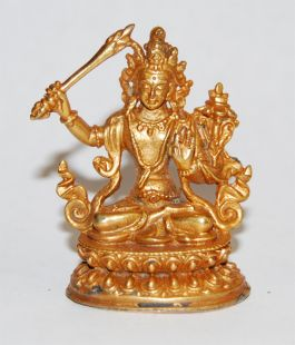 Manjushree Gilt Copper 2〝 Statue (II)