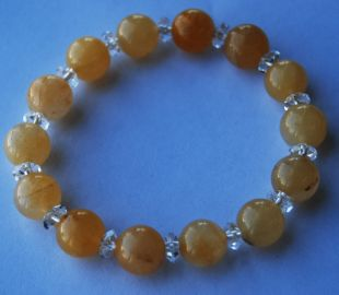 Yellow Topaz w cut quartz bracelet