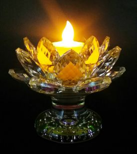 LED candle light with Crystal Lotus 18petals stand